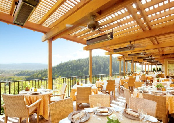 outdoor dining terrace auberge 1 Napa Valley Restaurant Month